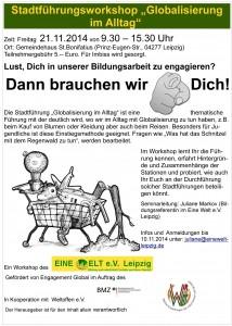 """Stadtführungsworkshop """"Globalisierung im Alltag"""" und Methodenseminar"""